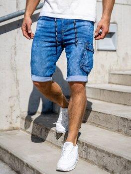 Темно-синие мужские джинсовые шорты карго Bolf KR1206