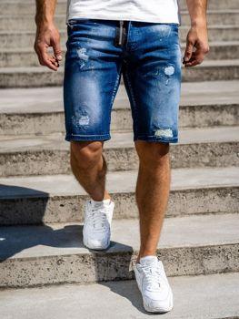 Темно-синие мужские джинсовые шорты Bolf 3008