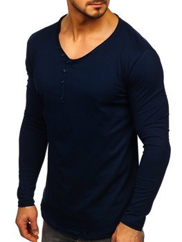 Темно-синий мужской лонгслив без принта Bolf 5059