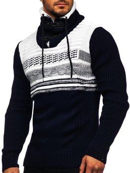 Темно-синий мужской свитер толстой вязки с воротником-стойкой Bolf 2020