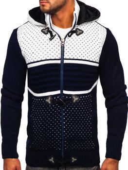 Темно-синий мужской свитер толстой вязки Bolf 2047