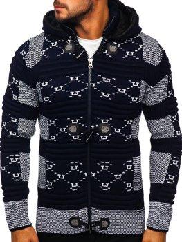 Темно-синий мужской свитер толстой вязки Bolf 2059