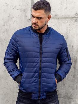 Темно-синяя демисезонная мужская куртка-бомбер  Bolf MY-02
