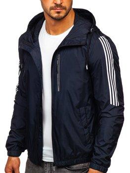 Темно-синяя демисезонная мужская спортивная куртка с капюшоном Bolf 6172