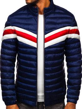 Темно-синяя демисезонная мужская стеганая спортивная куртка Bolf 6574
