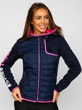 Темно-синяя женская стеганая демисезонная куртка с капюшоном Bolf KSW4008