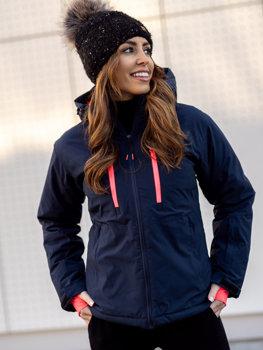 Темно-синяя зимняя женская лыжная куртка Bolf HH012