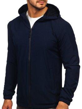 Темно-синяя мужская спортивная куртка ветровка  Bolf HH035