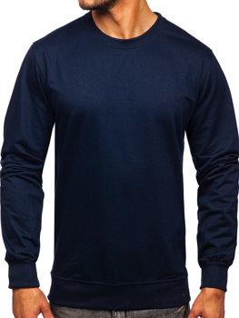 Темно-синяя мужская толстовка без капюшона Bolf B10001