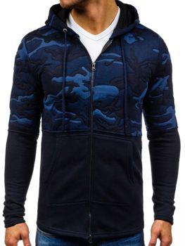 Темно-синяя мужская толстовка с капюшоном Bolf 9109