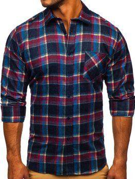 Темно-синяя мужская фланелевая рубашка с длинным рукавом  Bolf F9-1
