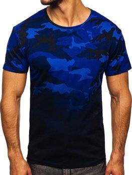 Темно-синяя мужская футболка с камуфляжным принтом Bolf S808