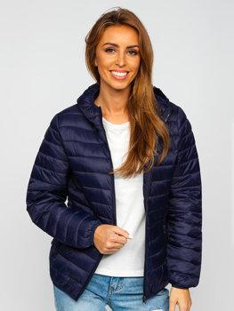 Темно-синяя стеганая женская демисезонная куртка с капюшоном Bolf M23036