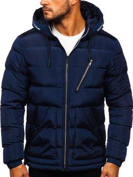 Темно-синяя стеганая мужская зимняя куртка с капюшоном Bolf 1181
