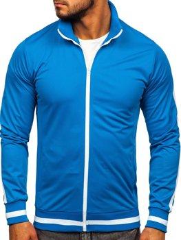 Толстовка мужская без капюшона ретро стиль синяя Bolf 2126