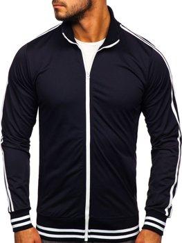 Толстовка мужская без капюшона ретро стиль темно-синяя Bolf 11113