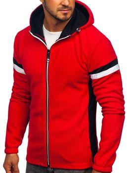 Толстовка мужская флисовая с капюшоном красная Bolf YL008