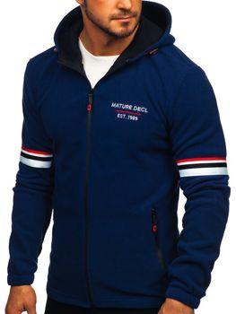 Толстовка мужская флисовая с капюшоном темно-синяя Bolf YL001