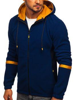 Толстовка мужская флисовая с капюшоном темно-синяя Bolf YL007