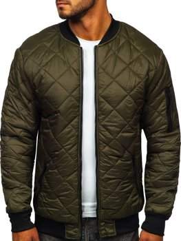 Хаки демисезонная мужская куртка-бомбер  Bolf MY-01