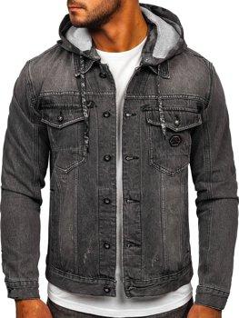 Черная джинсовая куртка с капюшоном Bolf RB9900-1