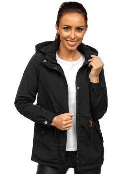Черная женская демисезонная куртка парка Bolf 6364