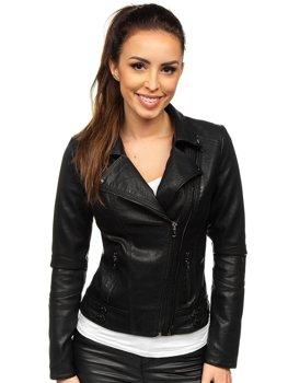 Черная женская кожаная куртка-косуха Bolf 2065