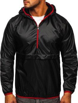 Черная мужская демисезонная спортивная куртка с капюшоном BOLF 5061