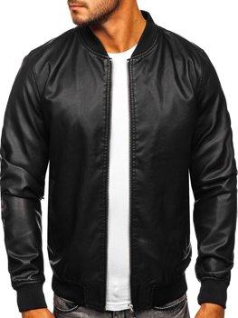 Черная мужская кожаная куртка-бомбер Bolf HK05