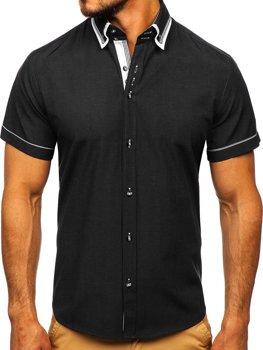 Черная мужская рубашка с коротким рукавом Bolf 3520