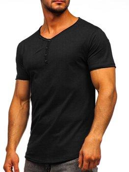 Черная мужская футболка без печати с V-образным вырезом Bolf 4049