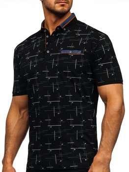 Черная мужская футболка поло с принтом Bolf 192232
