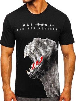 Черная мужская футболка с принтом Bolf 181519