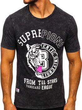 Черная мужская футболка с принтом Bolf HFM015