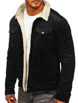 Черная стеганая вельветовая куртка мужская Bolf 1179