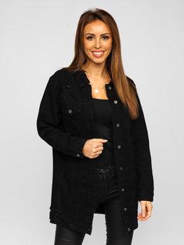 Черная удлиненная женская джинсовая куртка Bolf WL1743-1