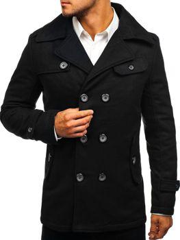 Черное зимнее мужское пальто Bolf EX906