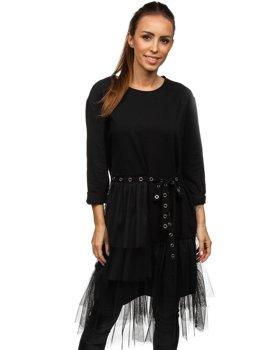 Черное платье с принтом Bolf 30655