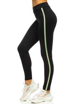 Черно-зеленые женские леггинсы с принтом Bolf 82326
