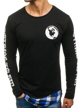 Черно-синяя мужская толстовка с принтом Bolf 0778