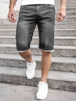 Черные джинсовые шорты мужские Bolf k15004-2