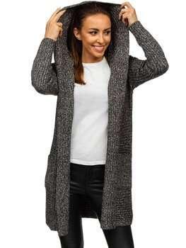Черный женский свитер кардиган Bolf MM1806