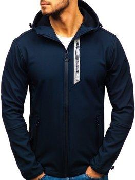 Чоловіча демісезонна куртка софтшелл темно-синя Bolf 5480-A