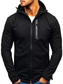 Чоловіча демісезонна куртка софтшелл чорна Bolf 5480-A