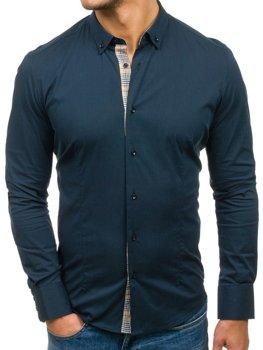 мужская рубашка с коротким рукавом темно-синяя Bolf 7197