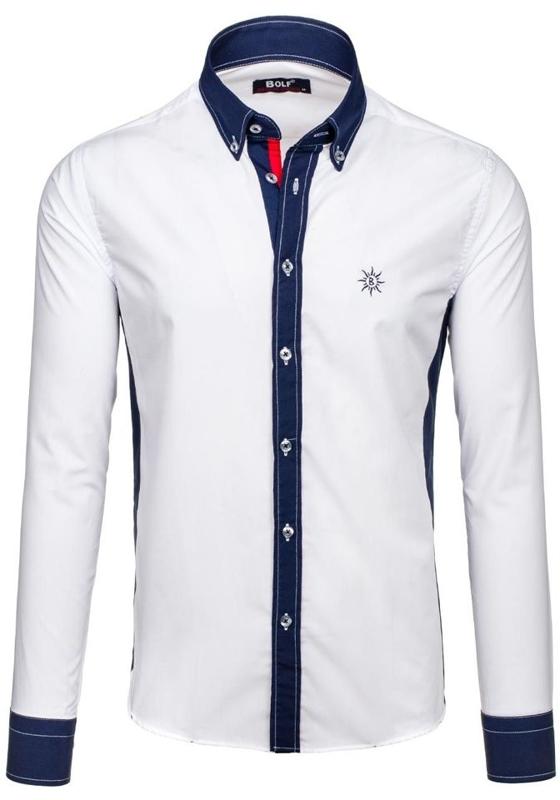 Белая мужская рубашка с длинным рукавом Bolf 6853