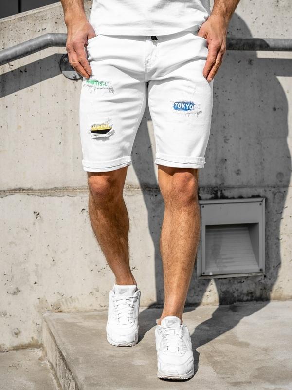 Белые джинсовые мужские шорты Bolf KG3808