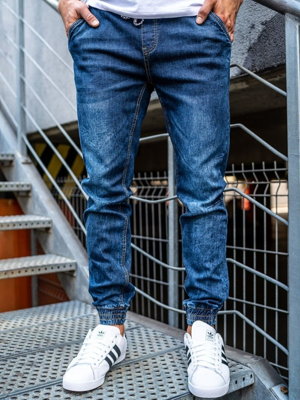 Брюки  джоггеры джинсовые мужские темно-синие Bolf KA675