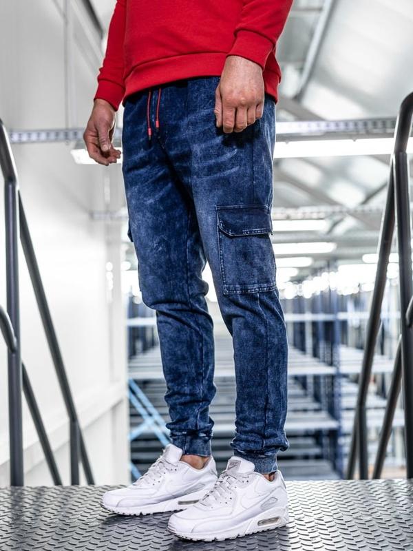 Брюки джоггеры мужские джинсовые темно-синие Bolf kk1033