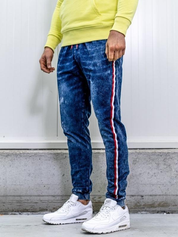 Брюки джоггеры мужские джинсовые темно-синие Bolf kk1050